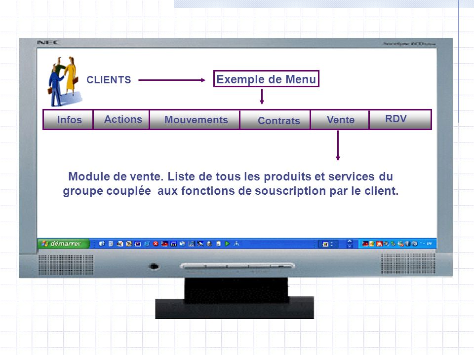 CLIENTS Exemple de Menu. Mouvements. Contrats. Vente. RDV. Actions. Infos.