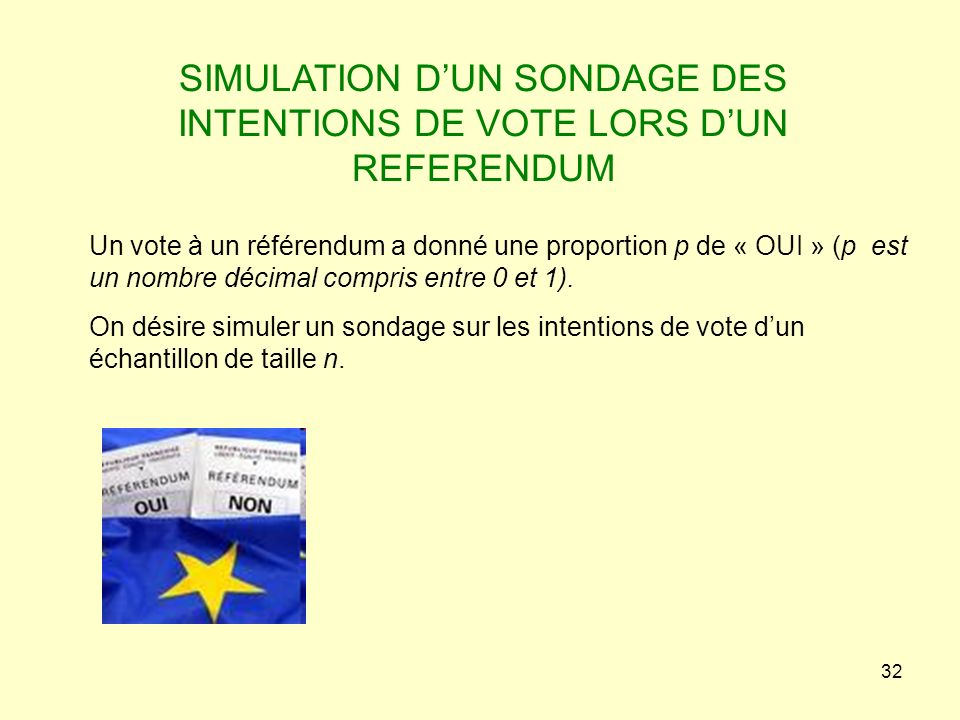 SIMULATION D'UN SONDAGE DES INTENTIONS DE VOTE LORS D'UN REFERENDUM