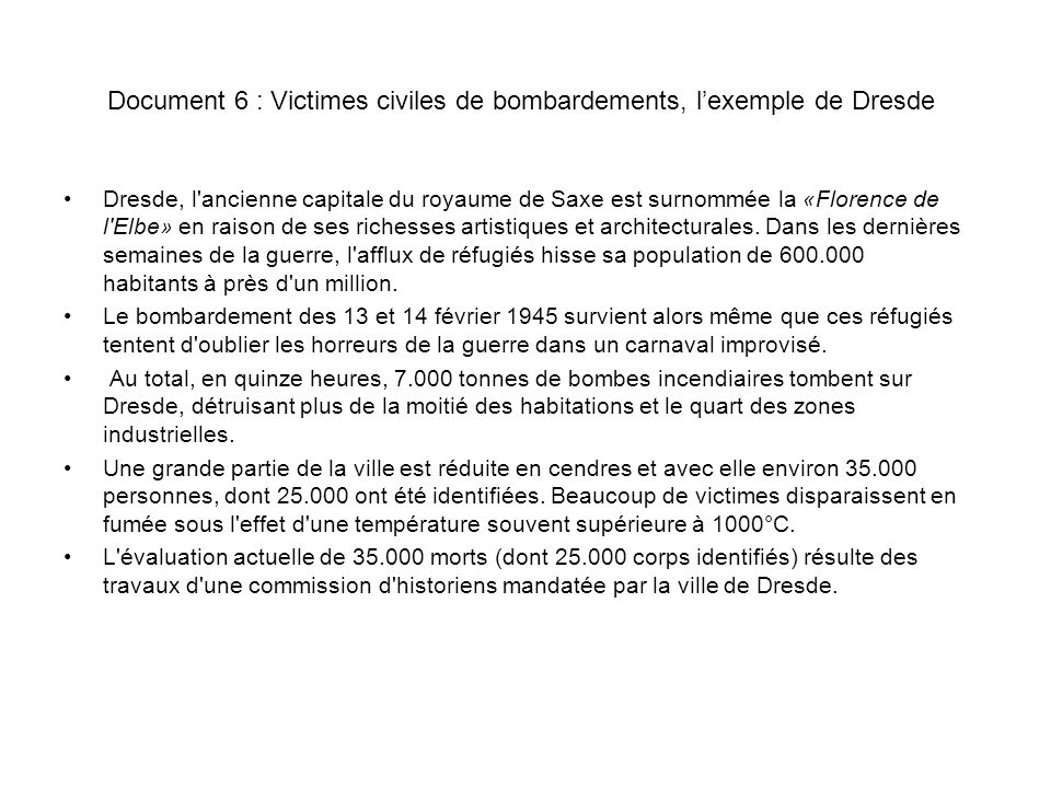 Document 6 : Victimes civiles de bombardements, l'exemple de Dresde