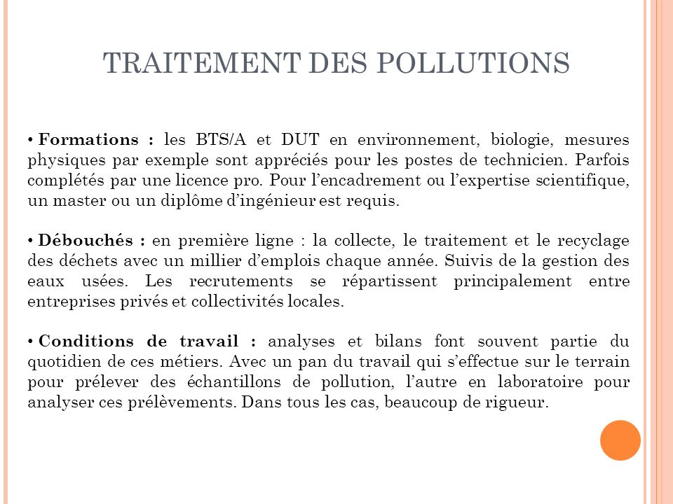 TRAITEMENT DES POLLUTIONS