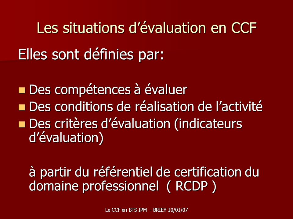 Les situations d'évaluation en CCF