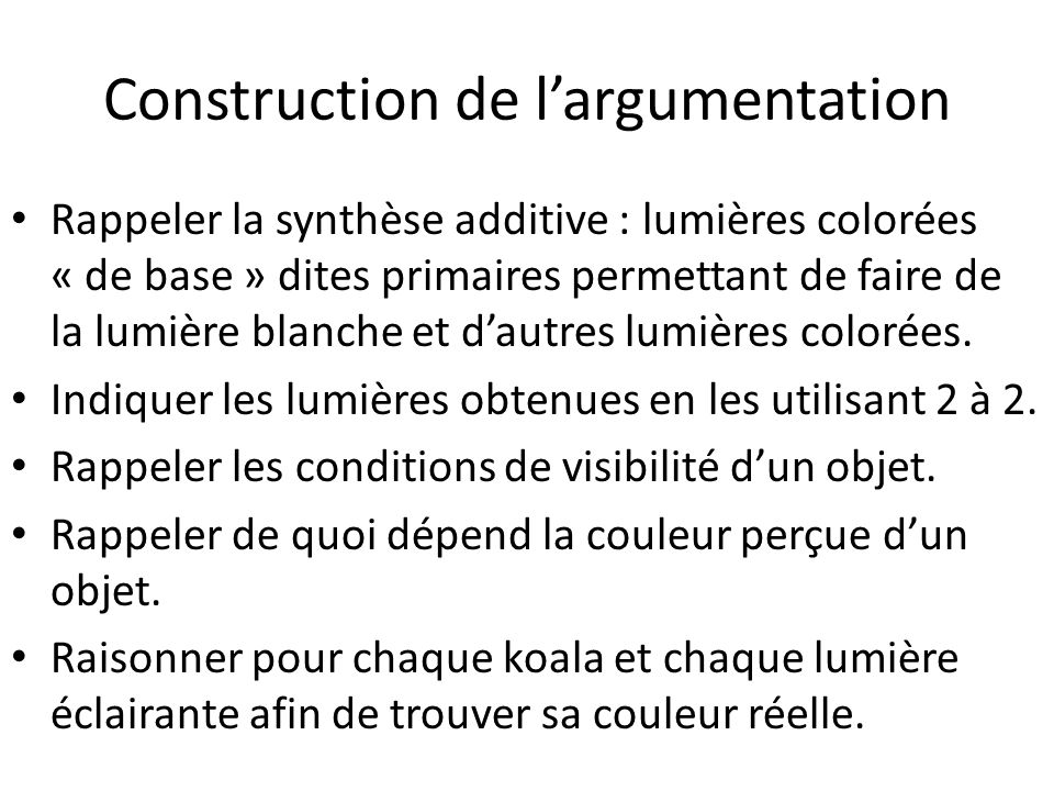 Construction de l'argumentation