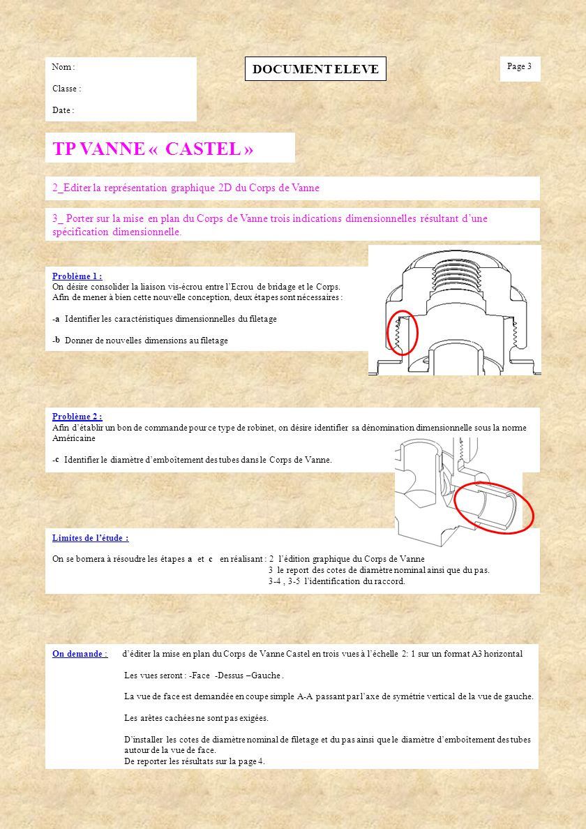 TP VANNE « CASTEL » DOCUMENT ELEVE