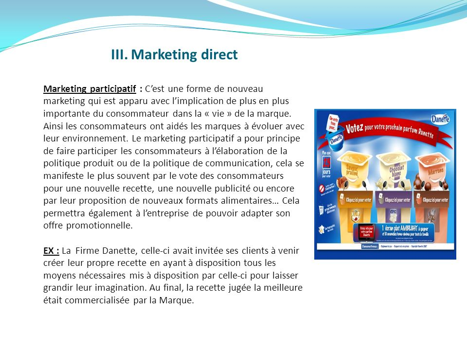 III. Marketing direct