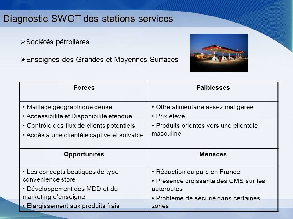 Diagnostic SWOT des stations services