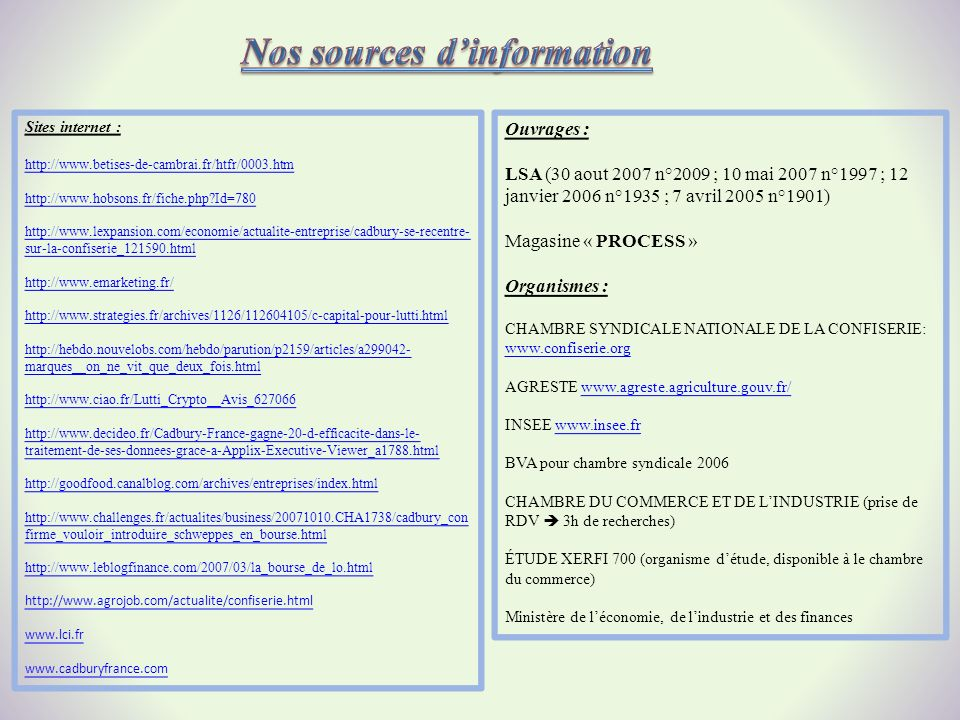 Nos sources d'information