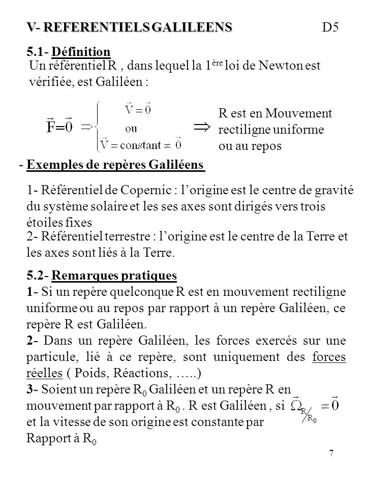 V- REFERENTIELS GALILEENS D5