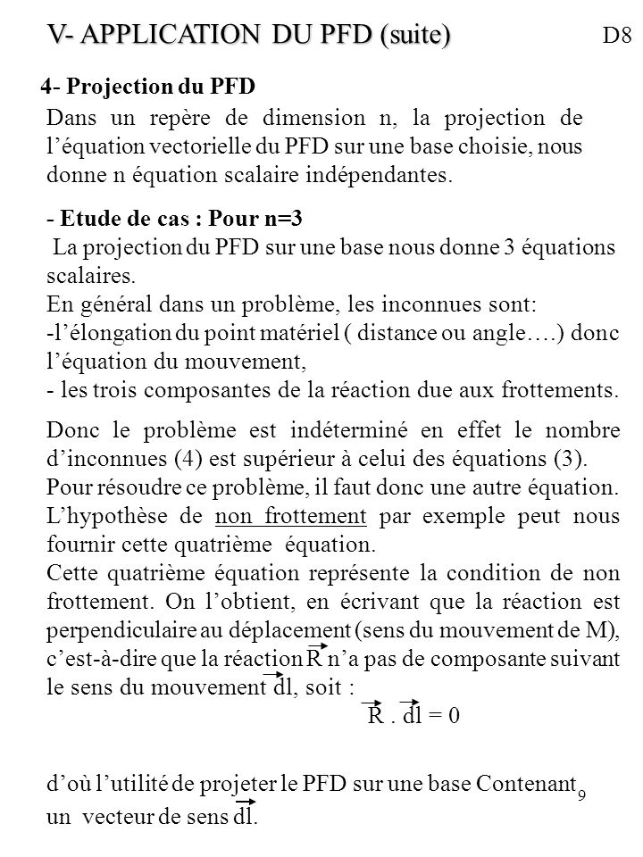 V- APPLICATION DU PFD (suite) D8