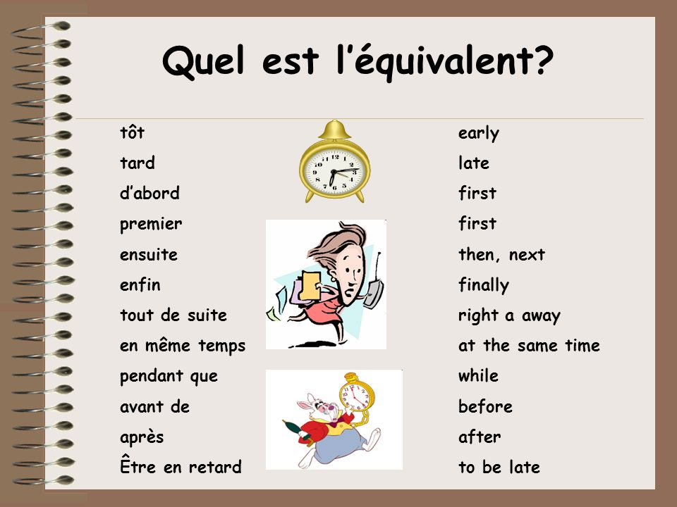 Quel est l'équivalent tôt early tard late d'abord first premier first