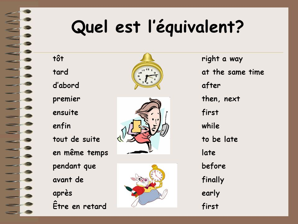 Quel est l'équivalent tôt right a way tard at the same time