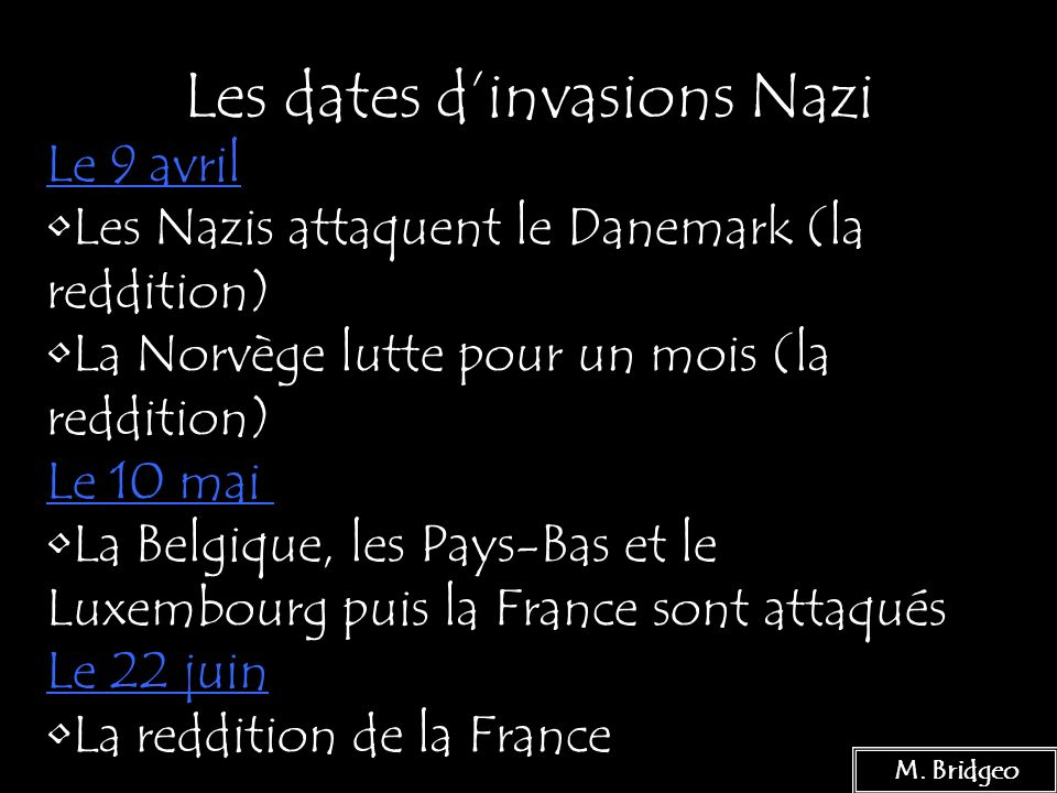 Les dates d'invasions Nazi