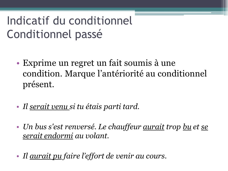 Indicatif du conditionnel Conditionnel passé