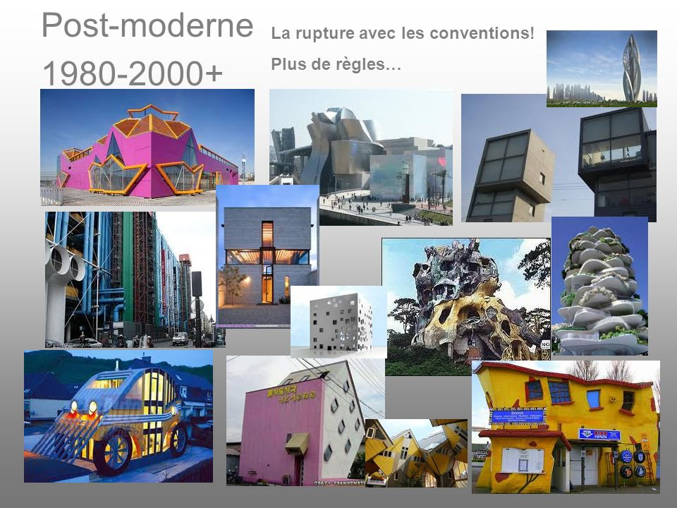 Post-moderne 1980-2000+ La rupture avec les conventions!