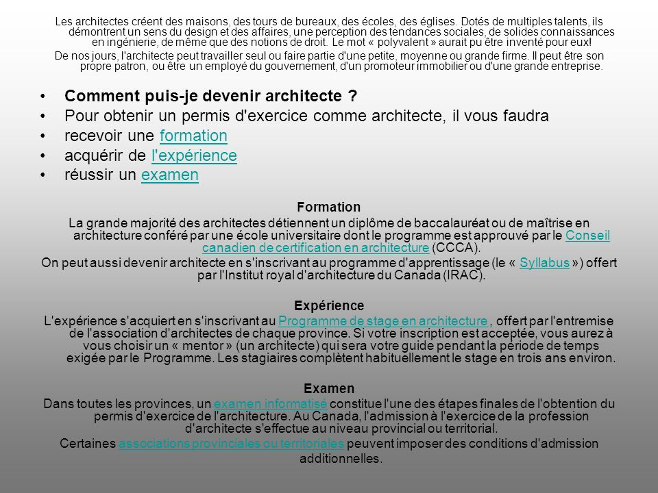 Comment puis-je devenir architecte