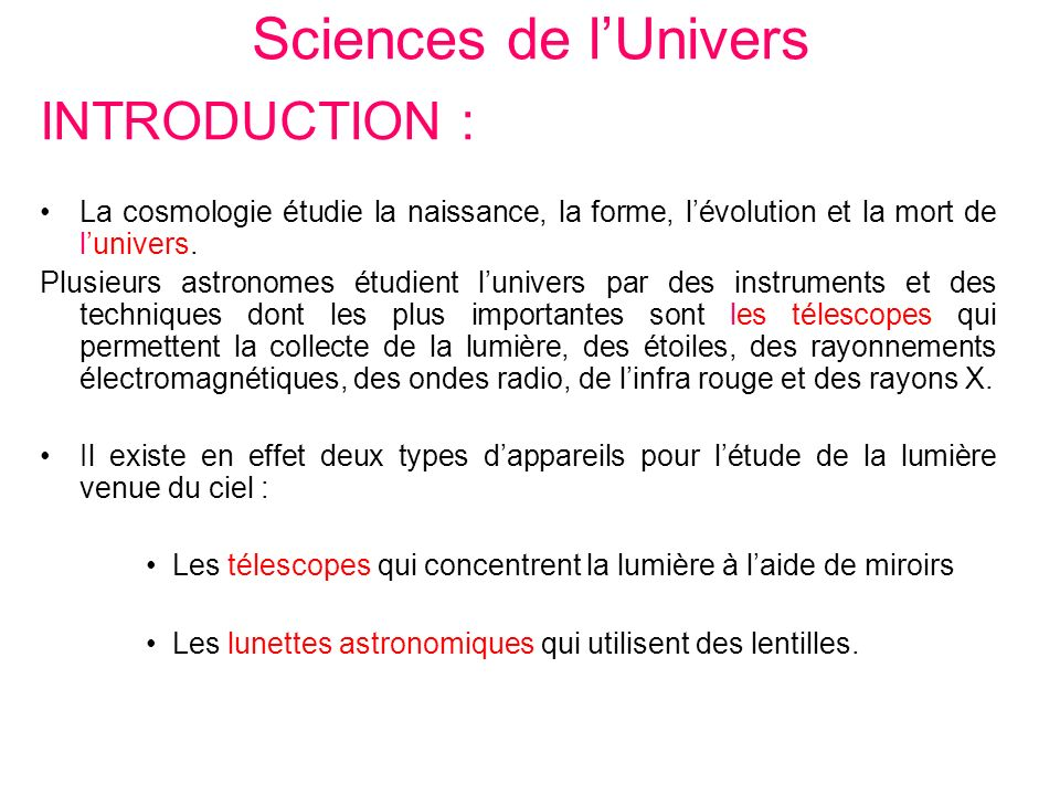 Sciences de l'Univers INTRODUCTION :