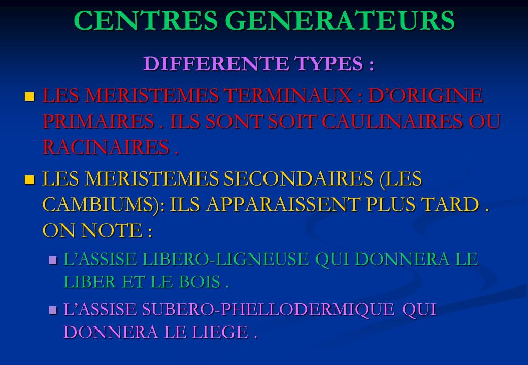 CENTRES GENERATEURS DIFFERENTE TYPES :