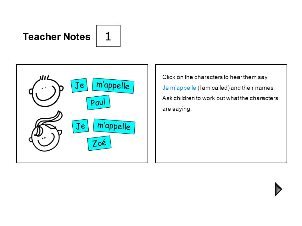 1 Teacher Notes Click on the characters to hear them say