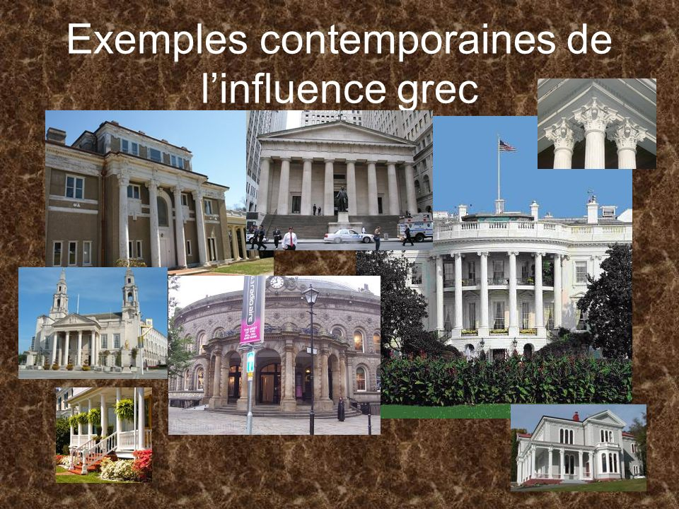 Exemples contemporaines de l'influence grec