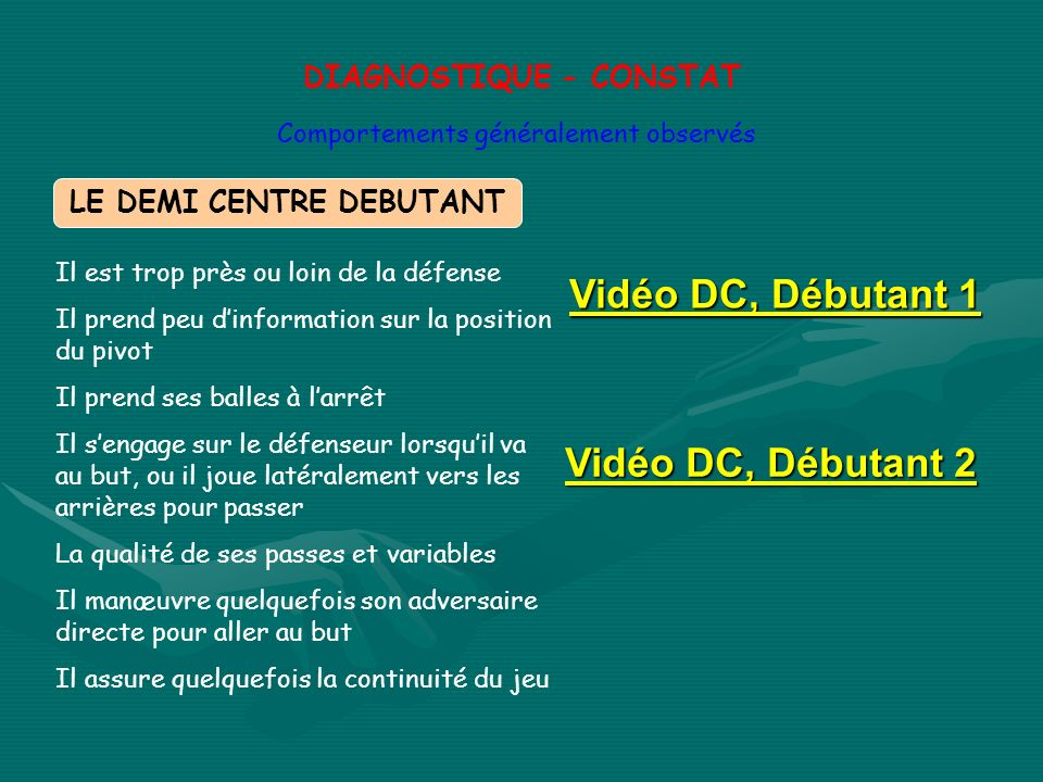 DIAGNOSTIQUE - CONSTAT LE DEMI CENTRE DEBUTANT