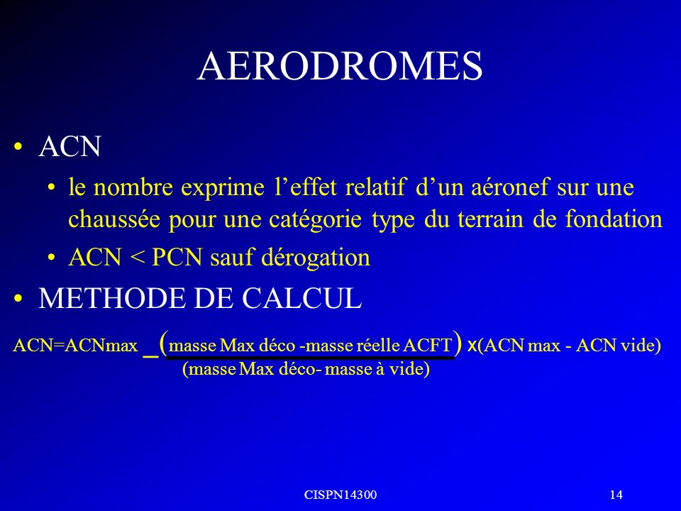 AERODROMES ACN METHODE DE CALCUL