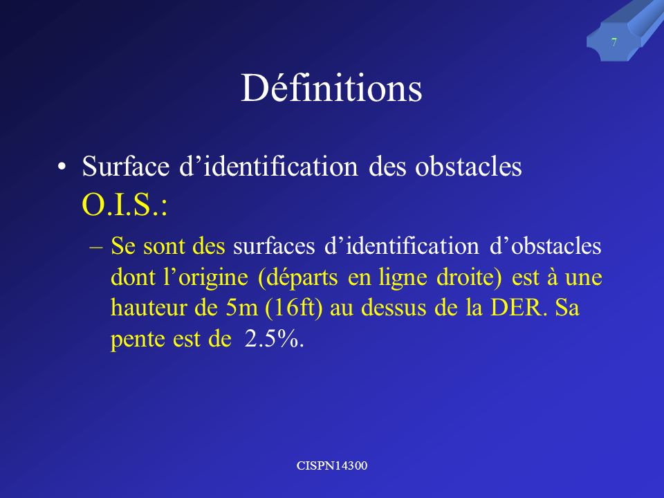 Définitions Surface d'identification des obstacles O.I.S.: