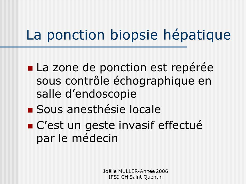 La ponction biopsie hépatique