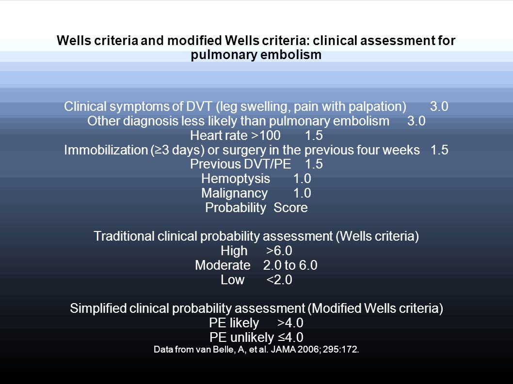 Clinical symptoms of DVT (leg swelling, pain with palpation) 3.0