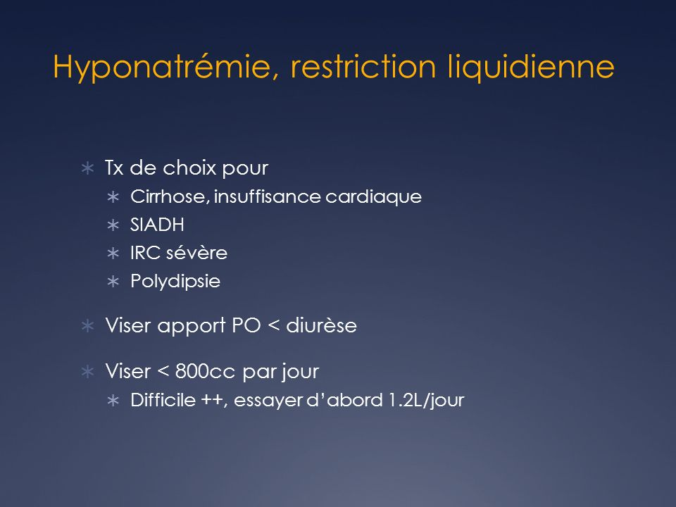 Hyponatrémie, restriction liquidienne