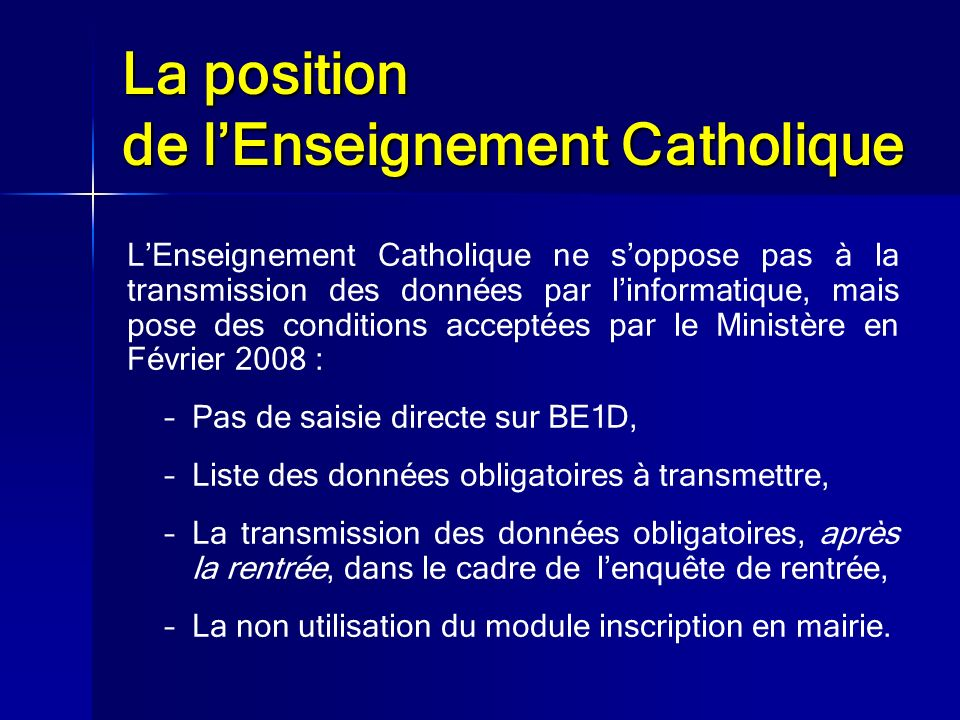 La position de l'Enseignement Catholique