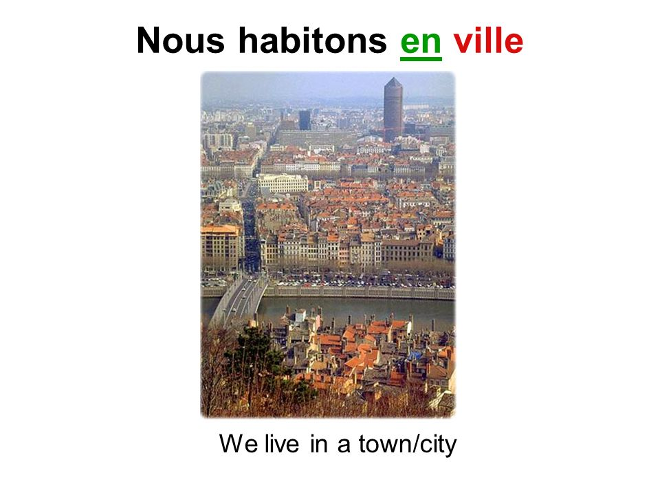 Nous habitons en ville We live in a town/city