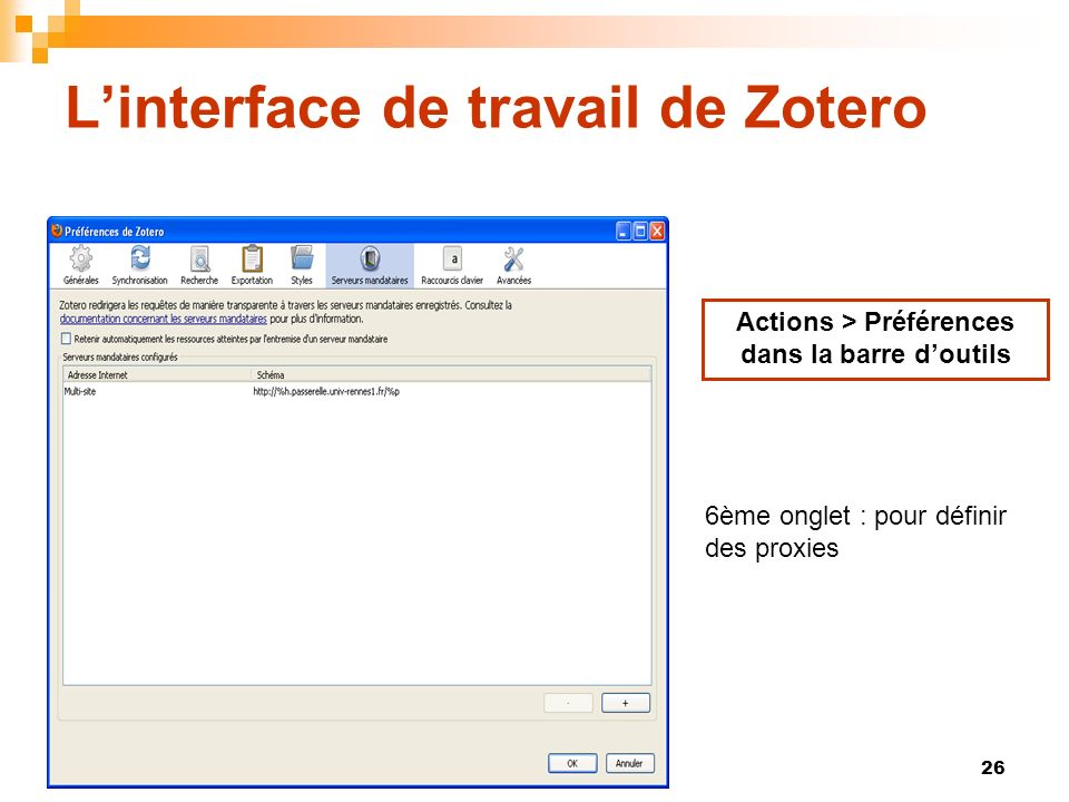 L'interface de travail de Zotero