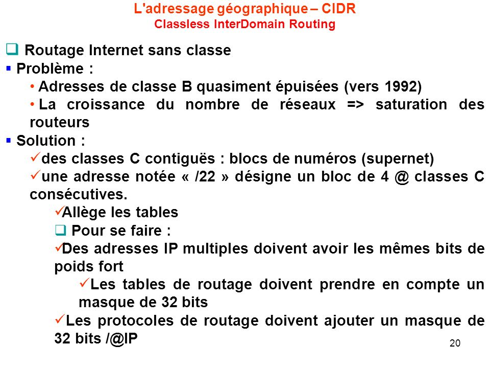 L adressage géographique – CIDR Classless InterDomain Routing