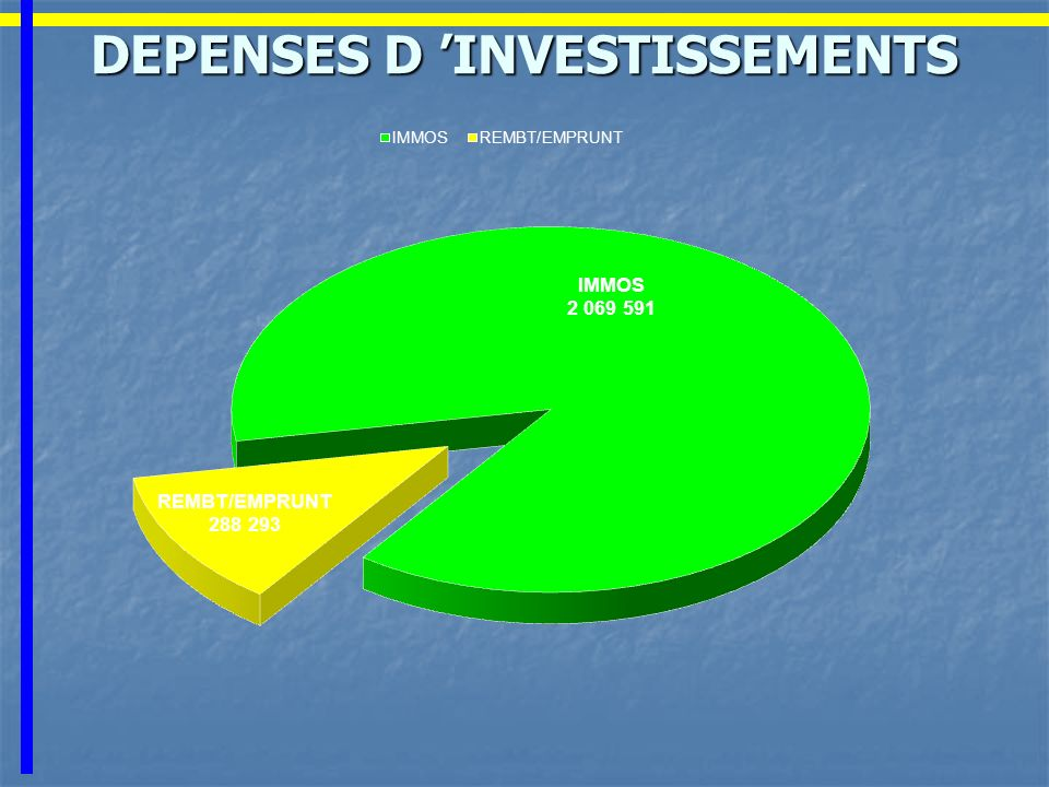 DEPENSES D 'INVESTISSEMENTS