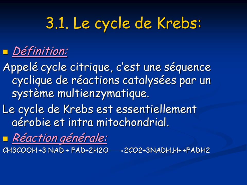 3.1. Le cycle de Krebs: Définition: