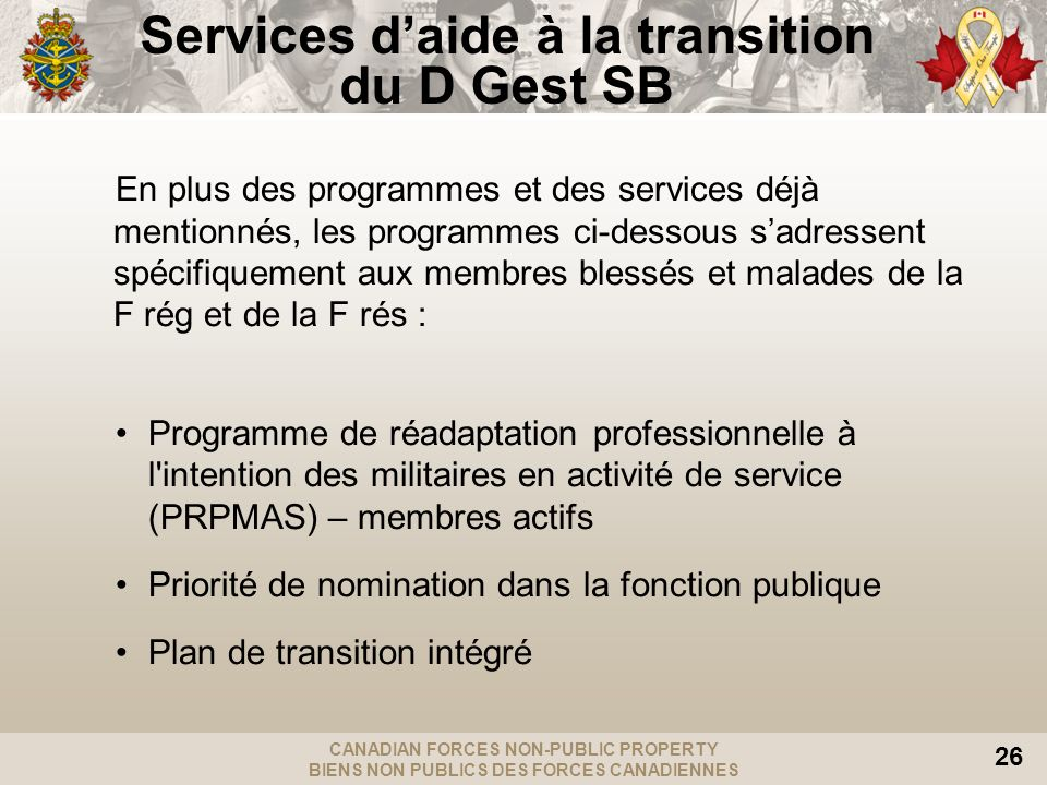 Services d'aide à la transition du D Gest SB