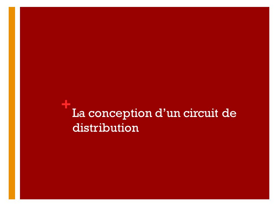 La conception d'un circuit de distribution