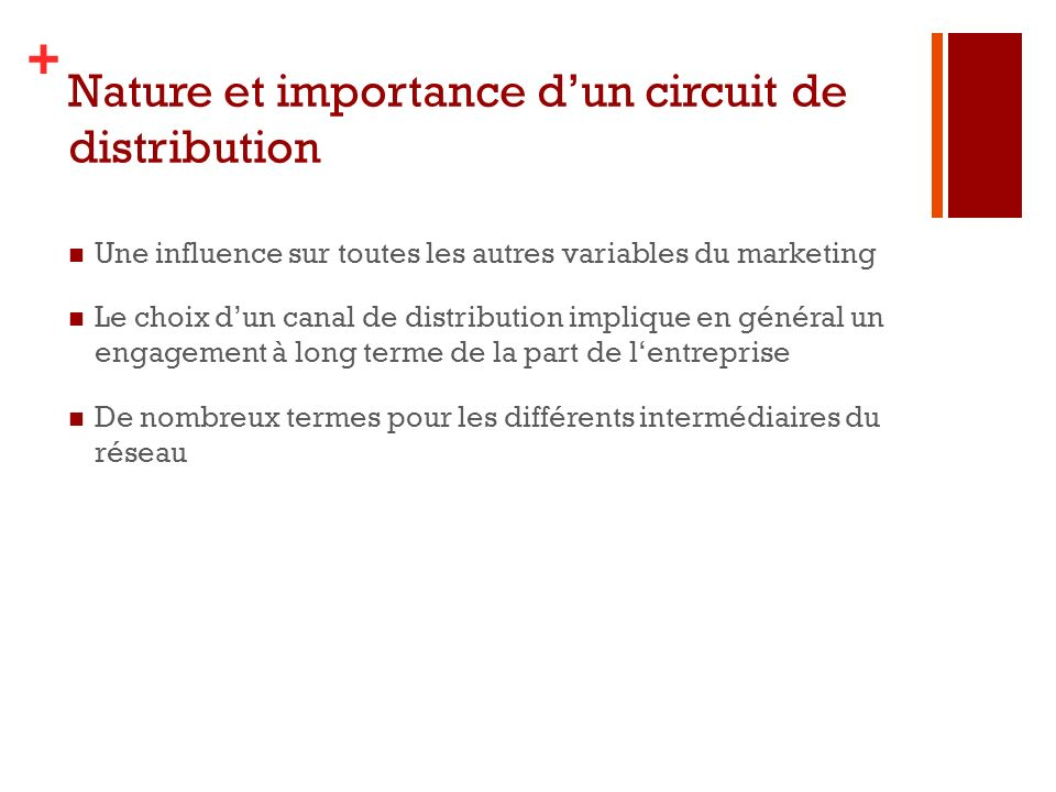 Nature et importance d'un circuit de distribution