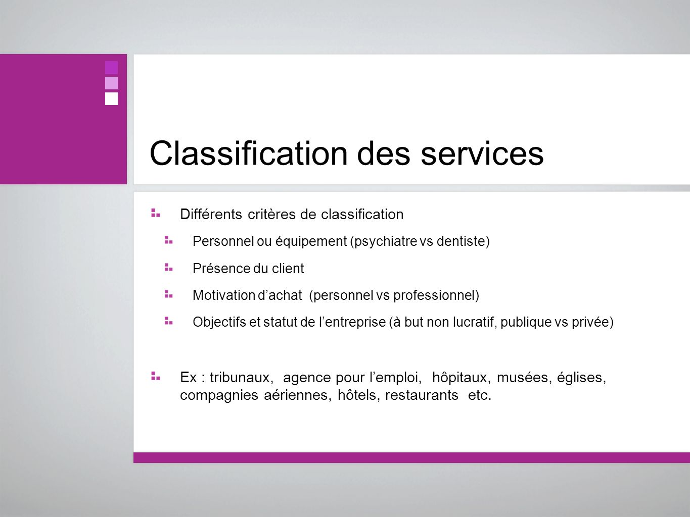 Classification des services