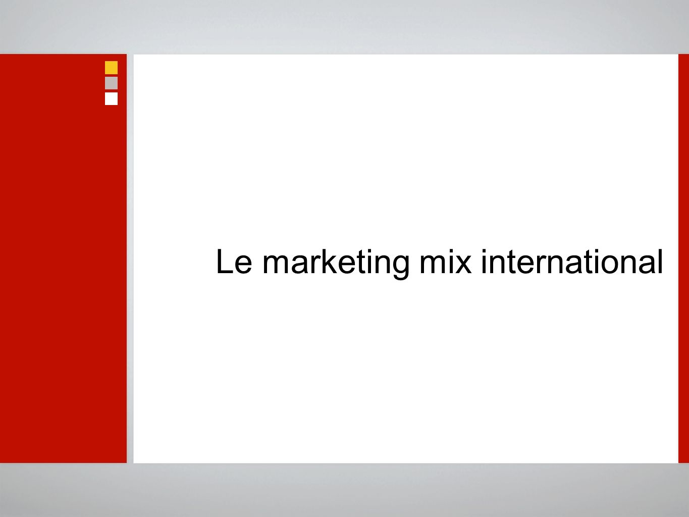 Le marketing mix international
