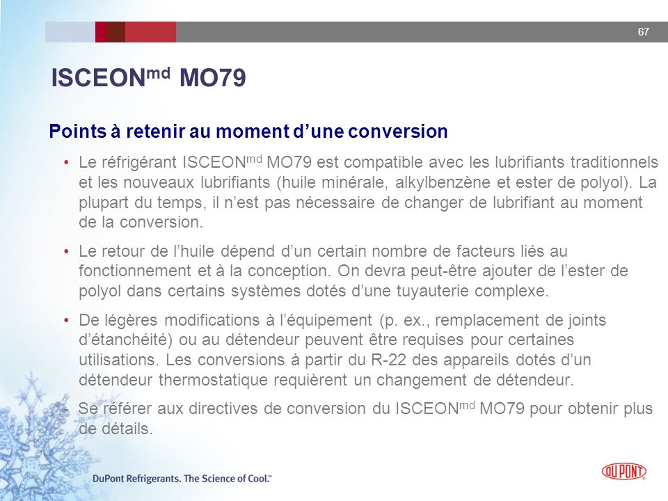 ISCEONmd MO79 Points à retenir au moment d'une conversion