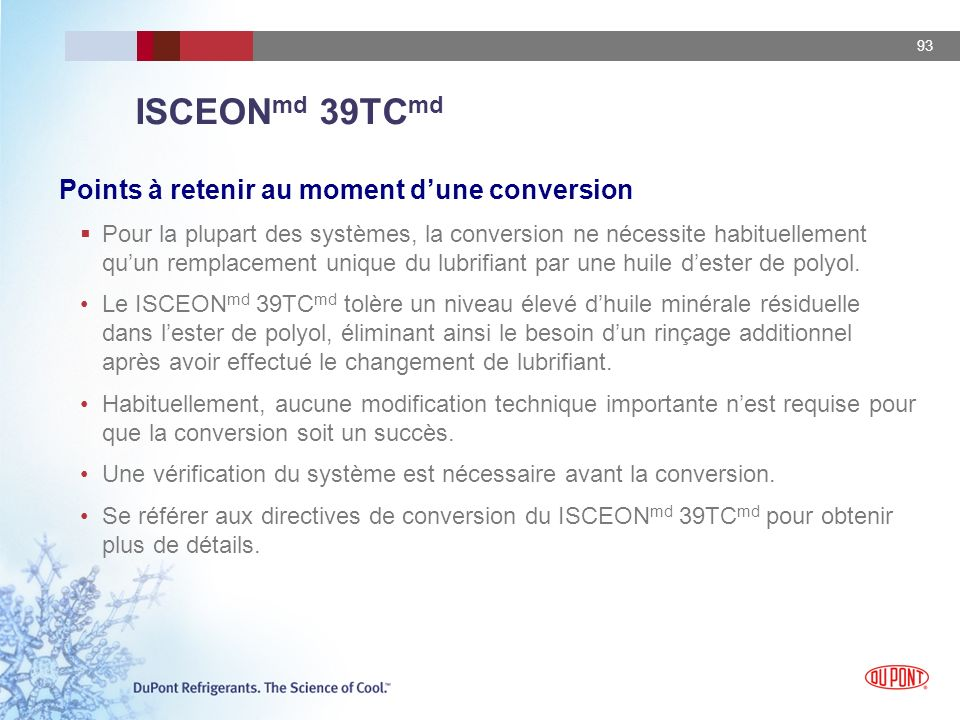 ISCEONmd 39TCmd Points à retenir au moment d'une conversion