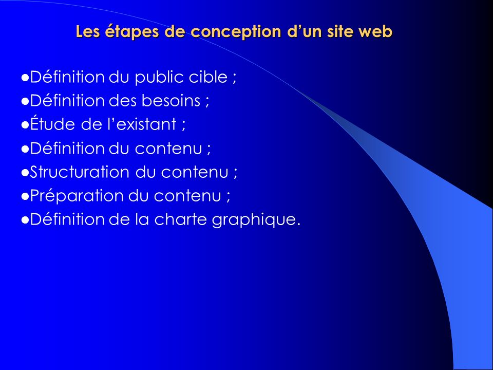 Les étapes de conception d'un site web