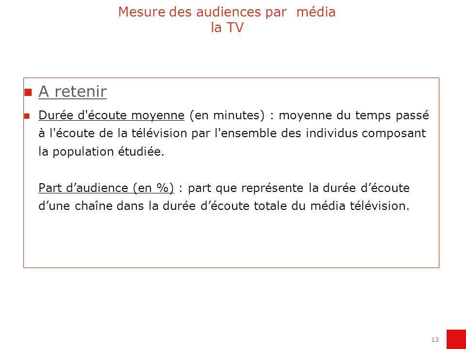 Mesure des audiences par média la TV