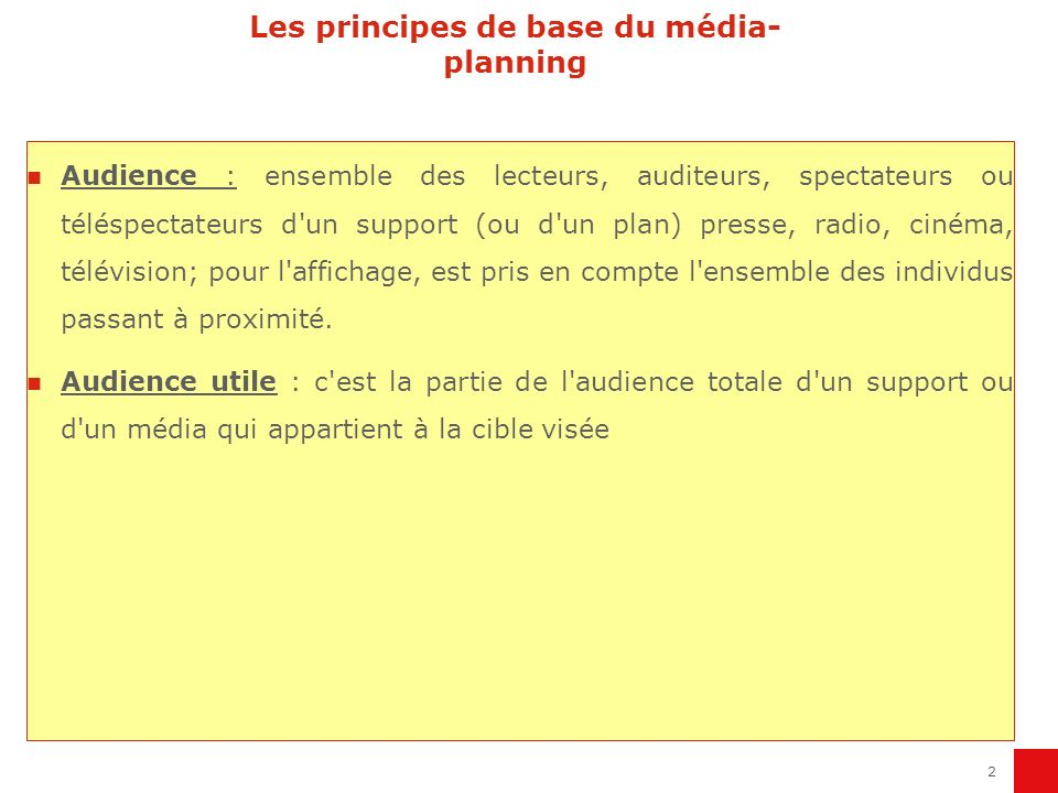Les principes de base du média-planning