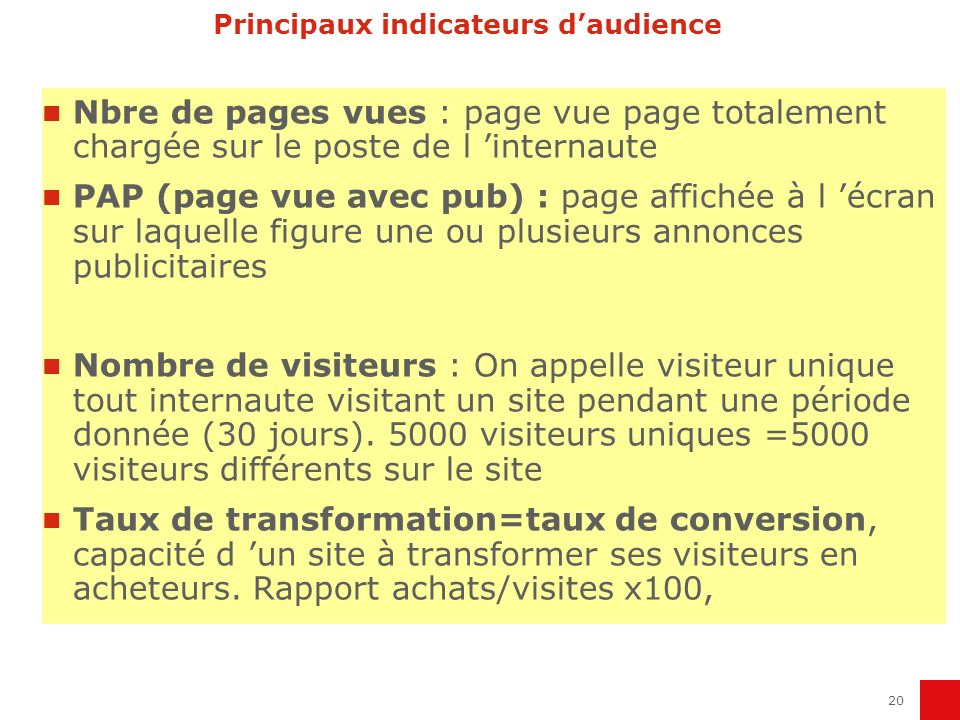 Principaux indicateurs d'audience