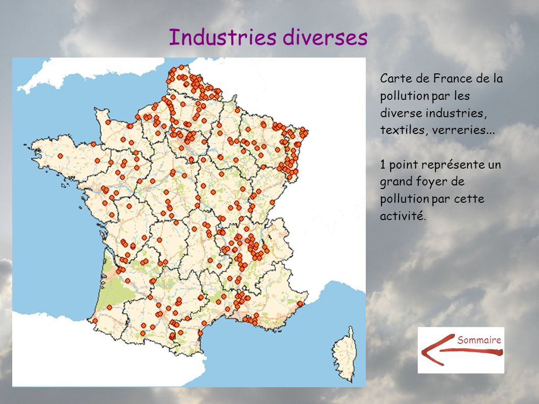 Industries diverses Carte de France de la pollution par les diverse industries, textiles, verreries...