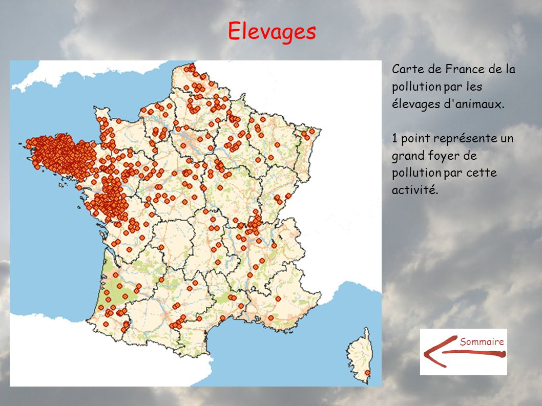 Elevages Carte de France de la pollution par les élevages d animaux.
