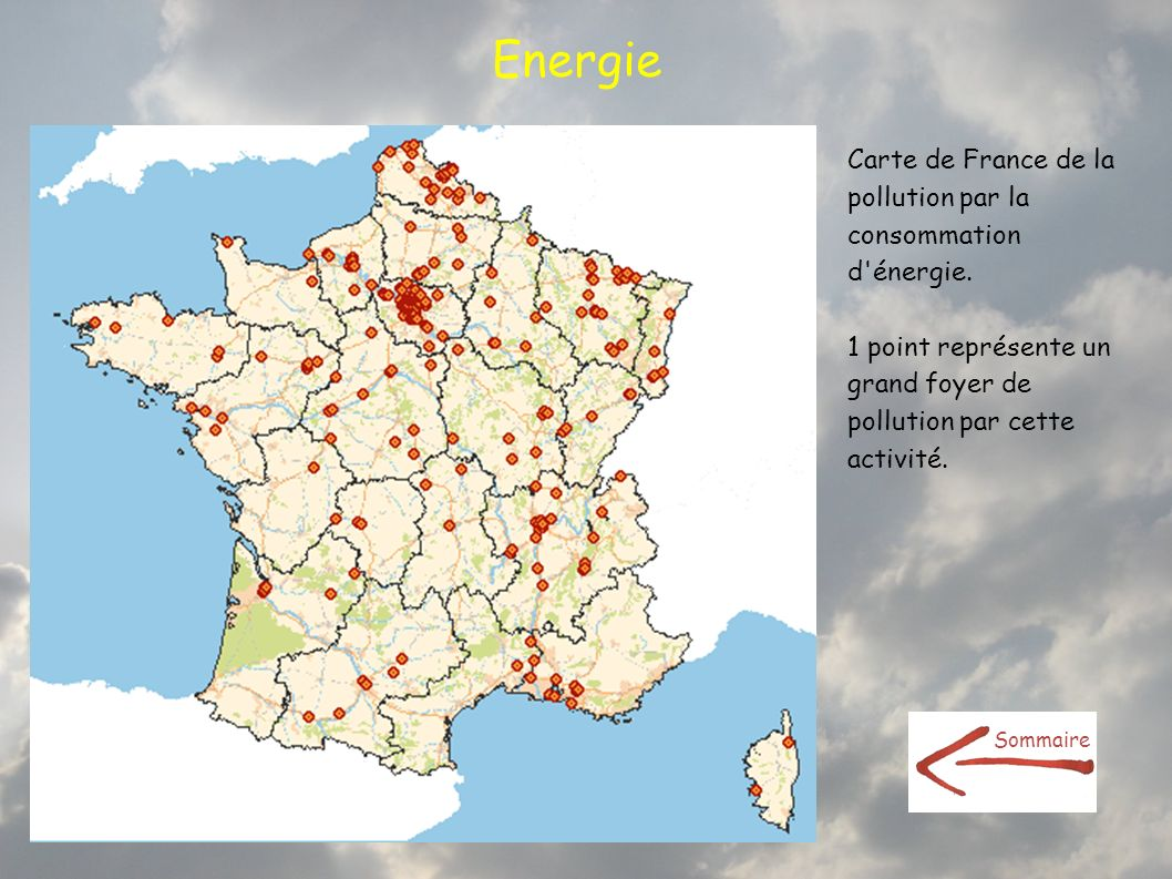 Energie Carte de France de la pollution par la consommation d énergie.