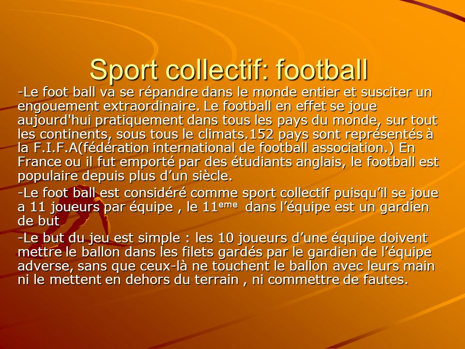 Sport collectif: football
