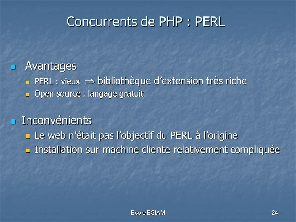Concurrents de PHP : PERL